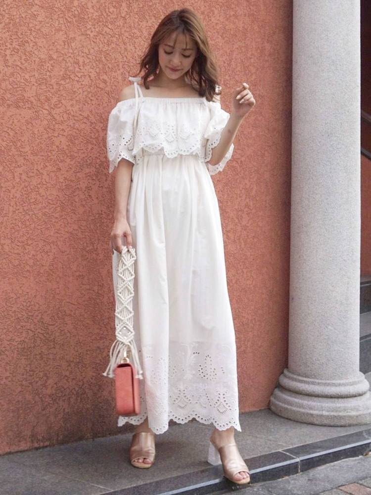 Cut work embroidery long dress