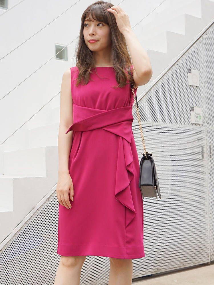 緞面腰皺褶連衣裙