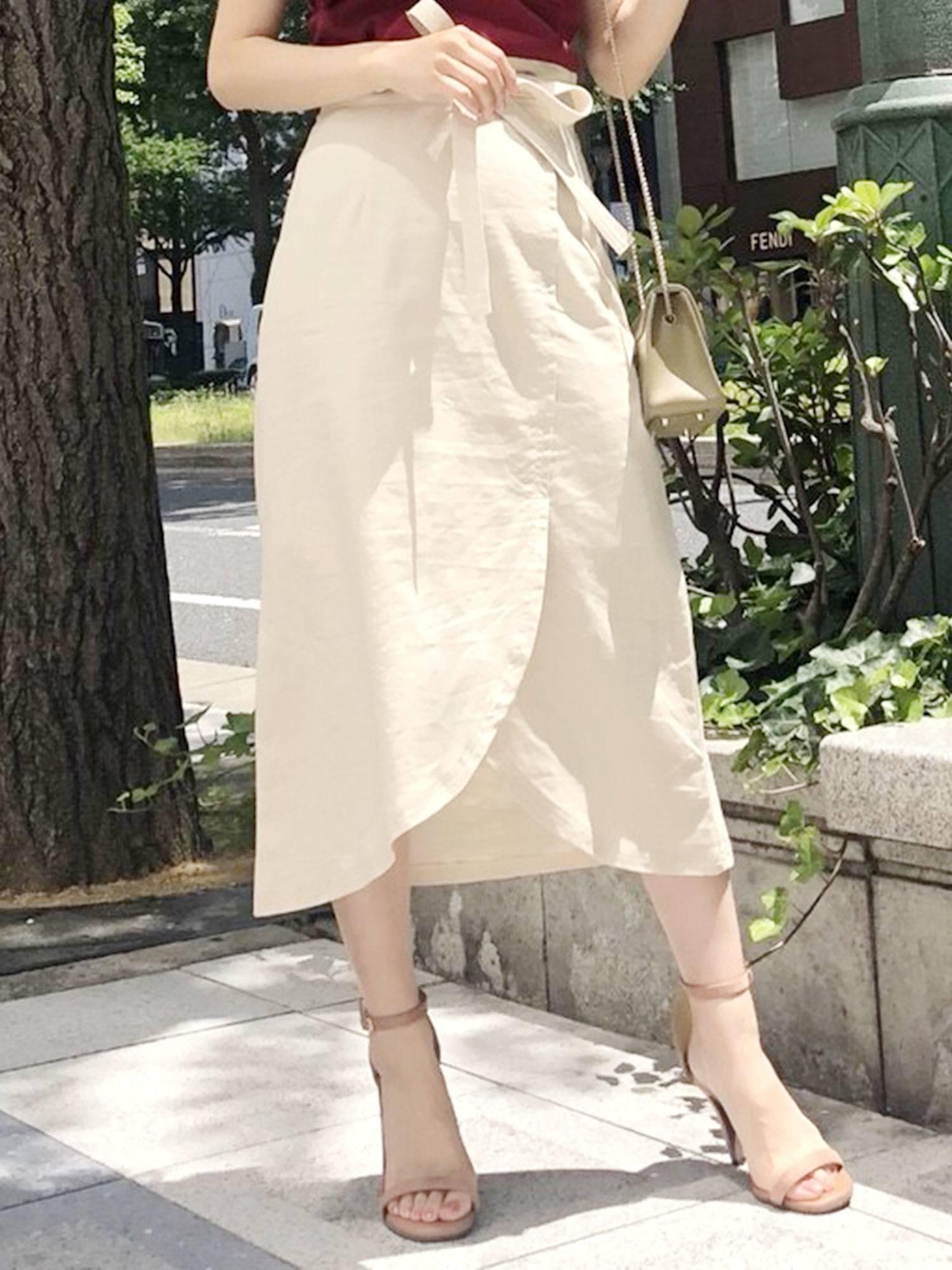 Linen wrap skirt (beige)