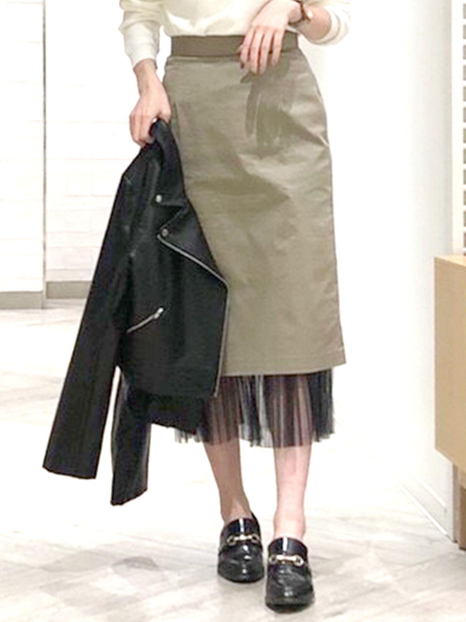 2WAYヘムプリーツタイトスカート