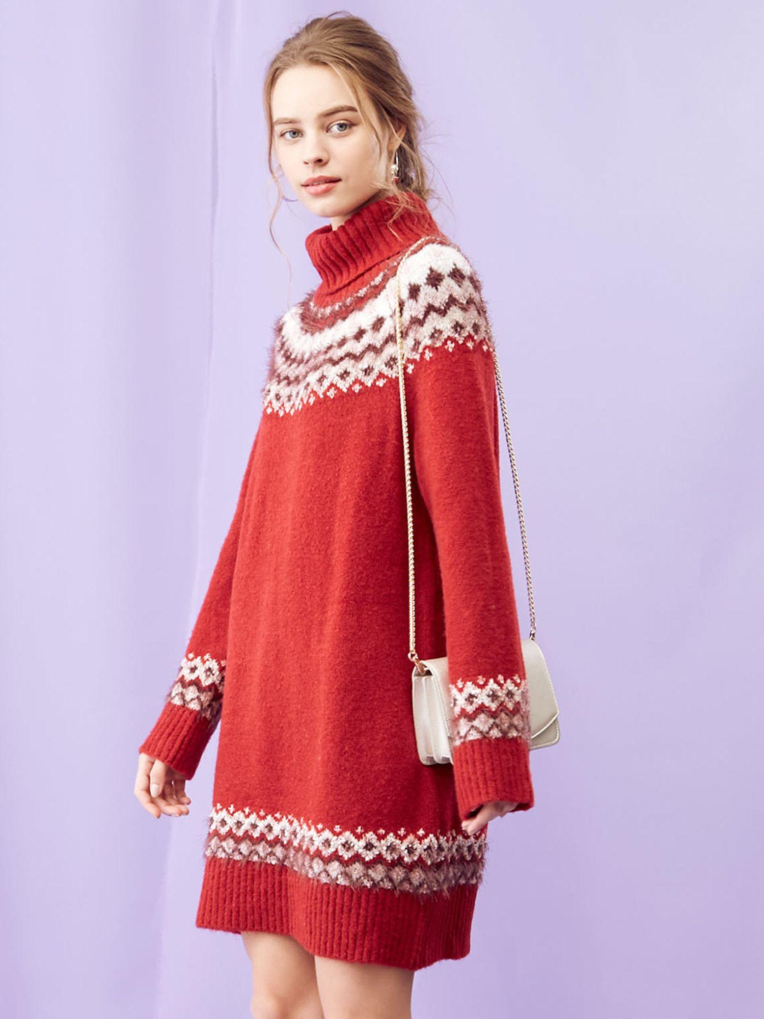 MIX纱北欧针织连衣裙
