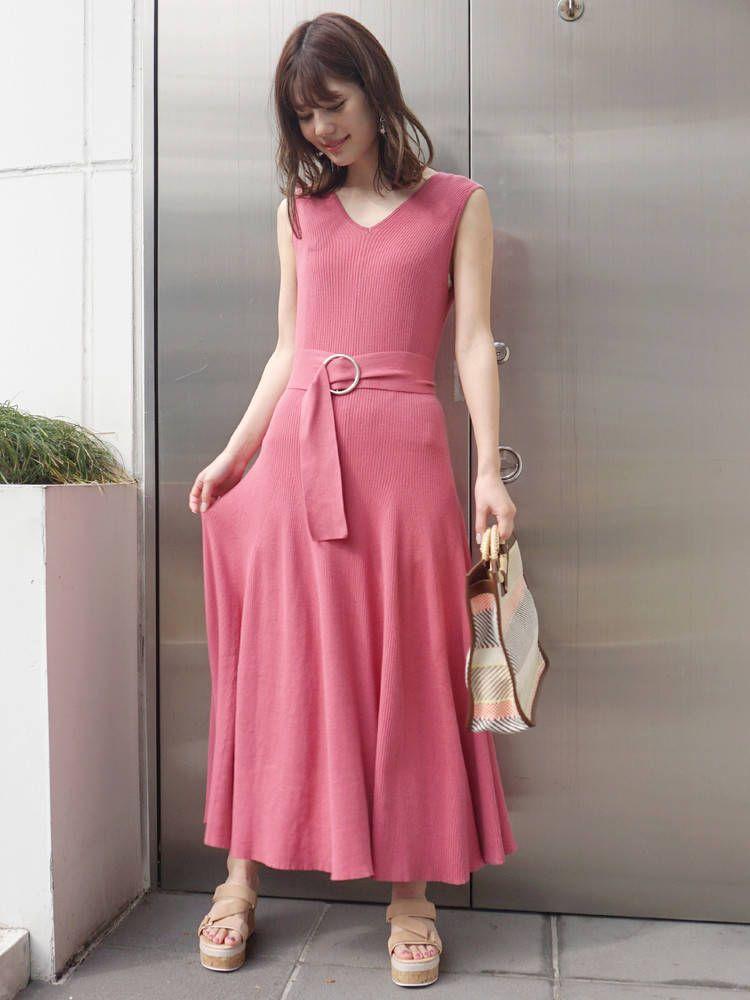 Rib long knit dress with belt