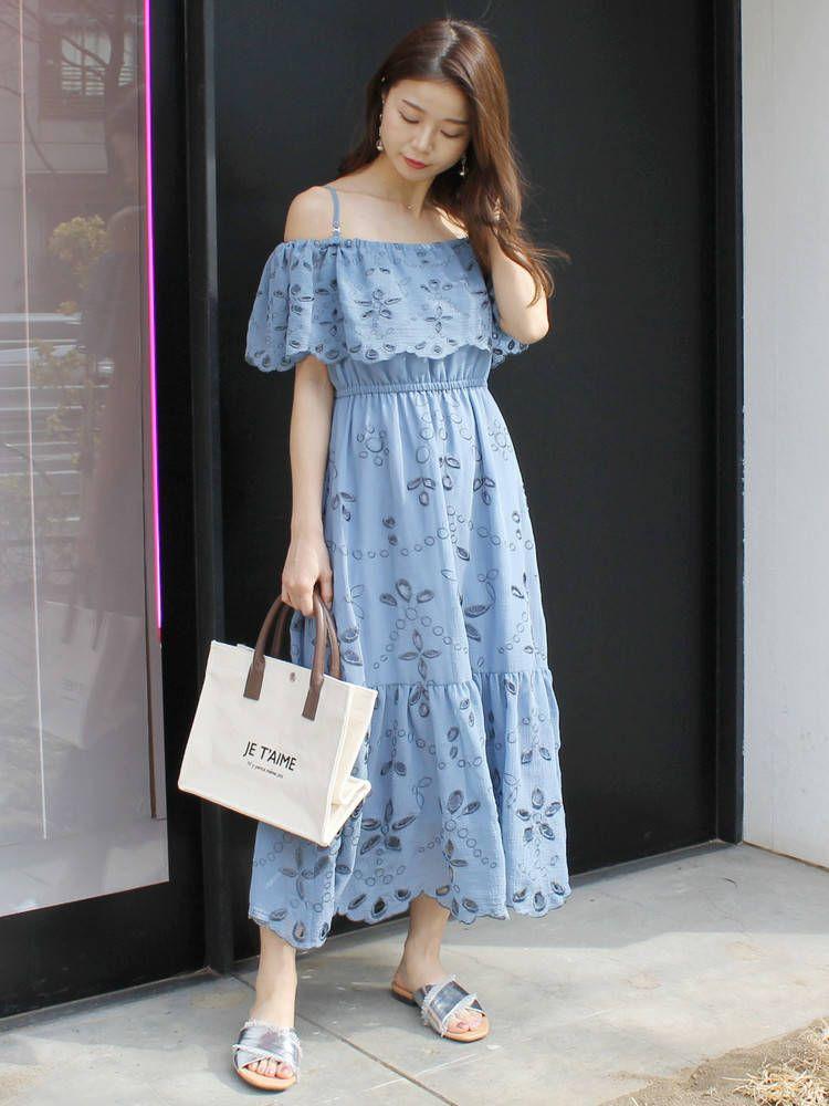 楊柳刺繍オフショルマキシワンピース