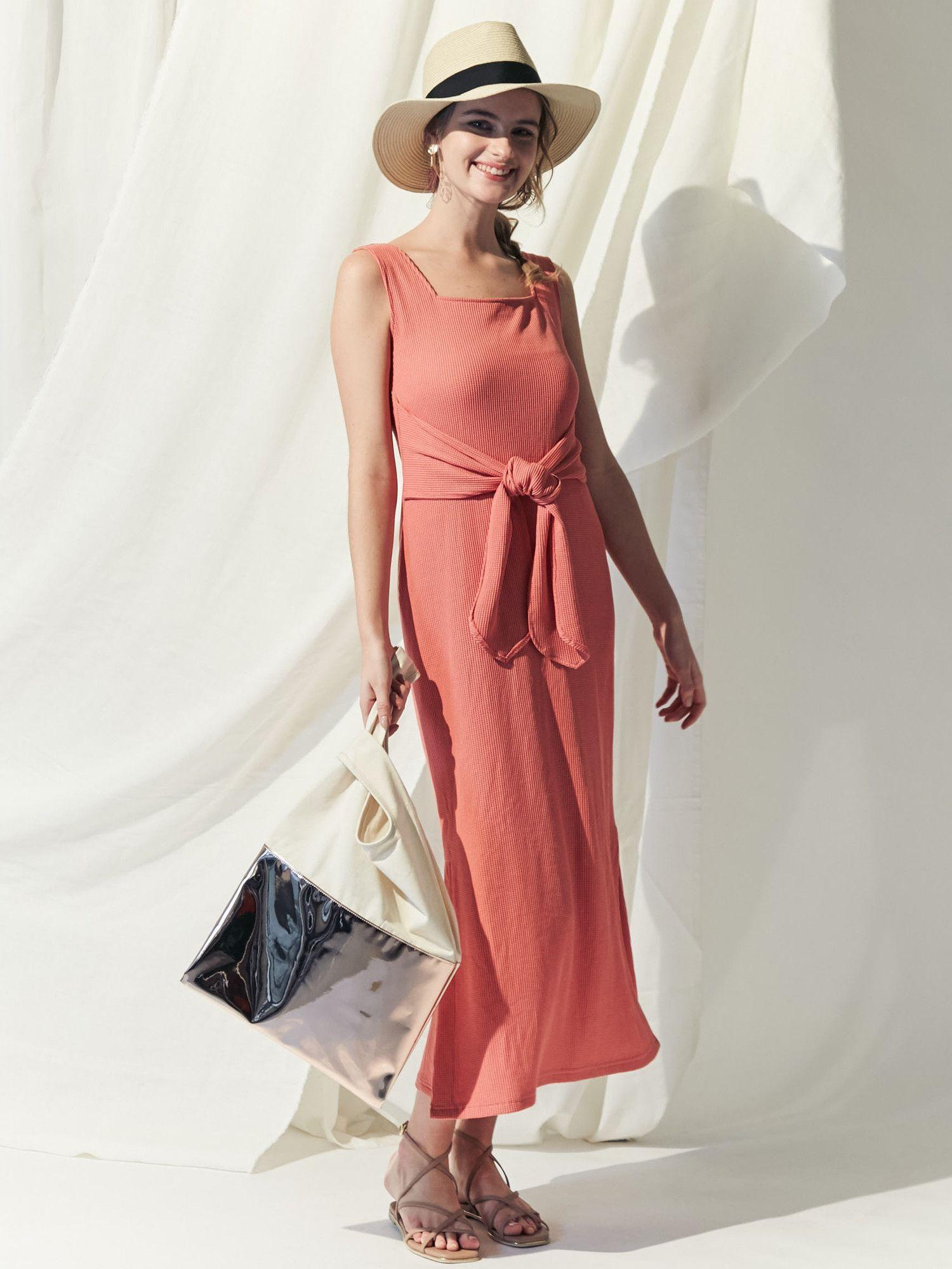 Thermal front ribbon dress