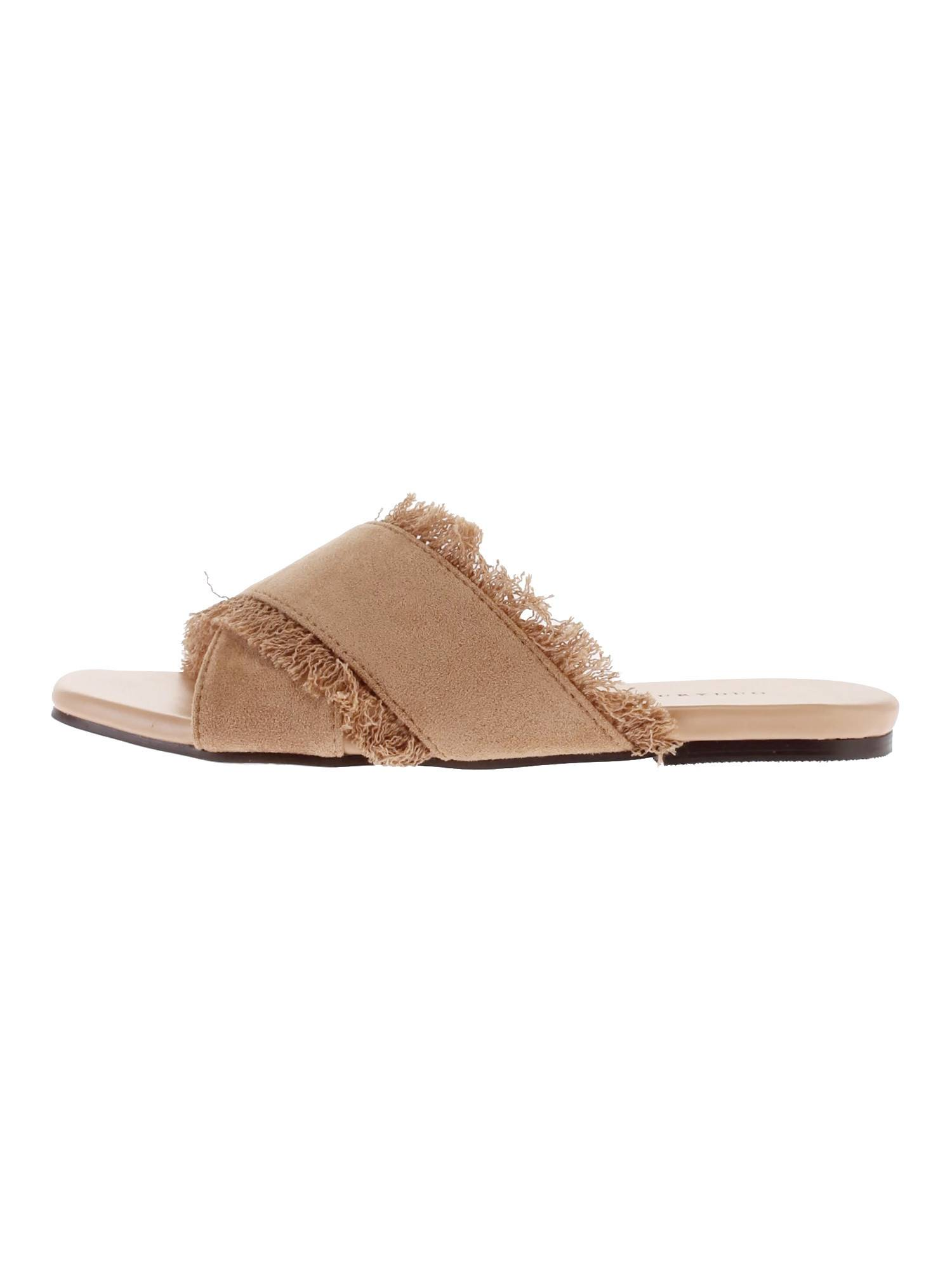 Faux suede cross sandals with fringe