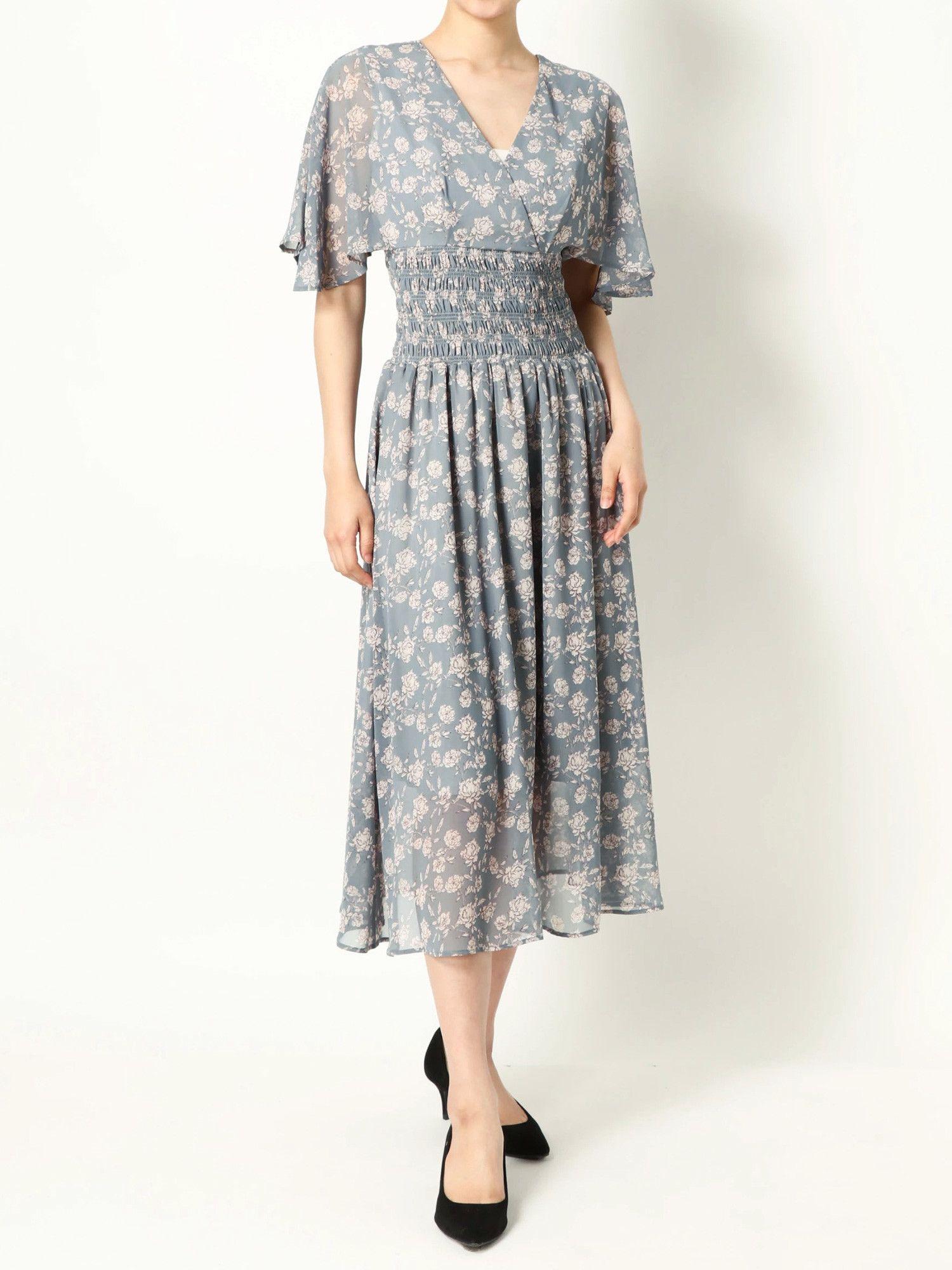 【一部店舗・RC限定】フラワープリントウエストシャーリングドレス