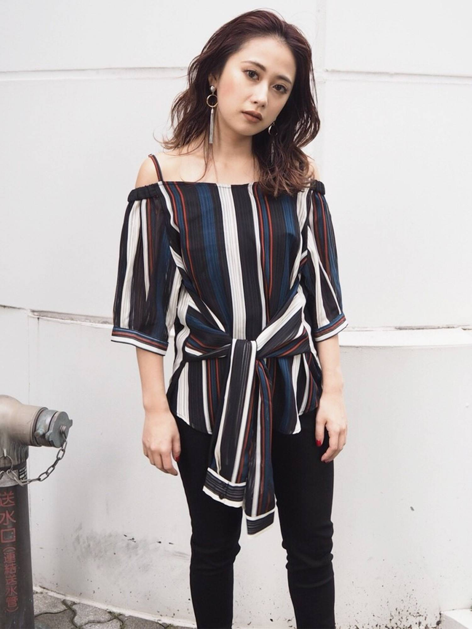 Sheer stripe off shoulder blouse