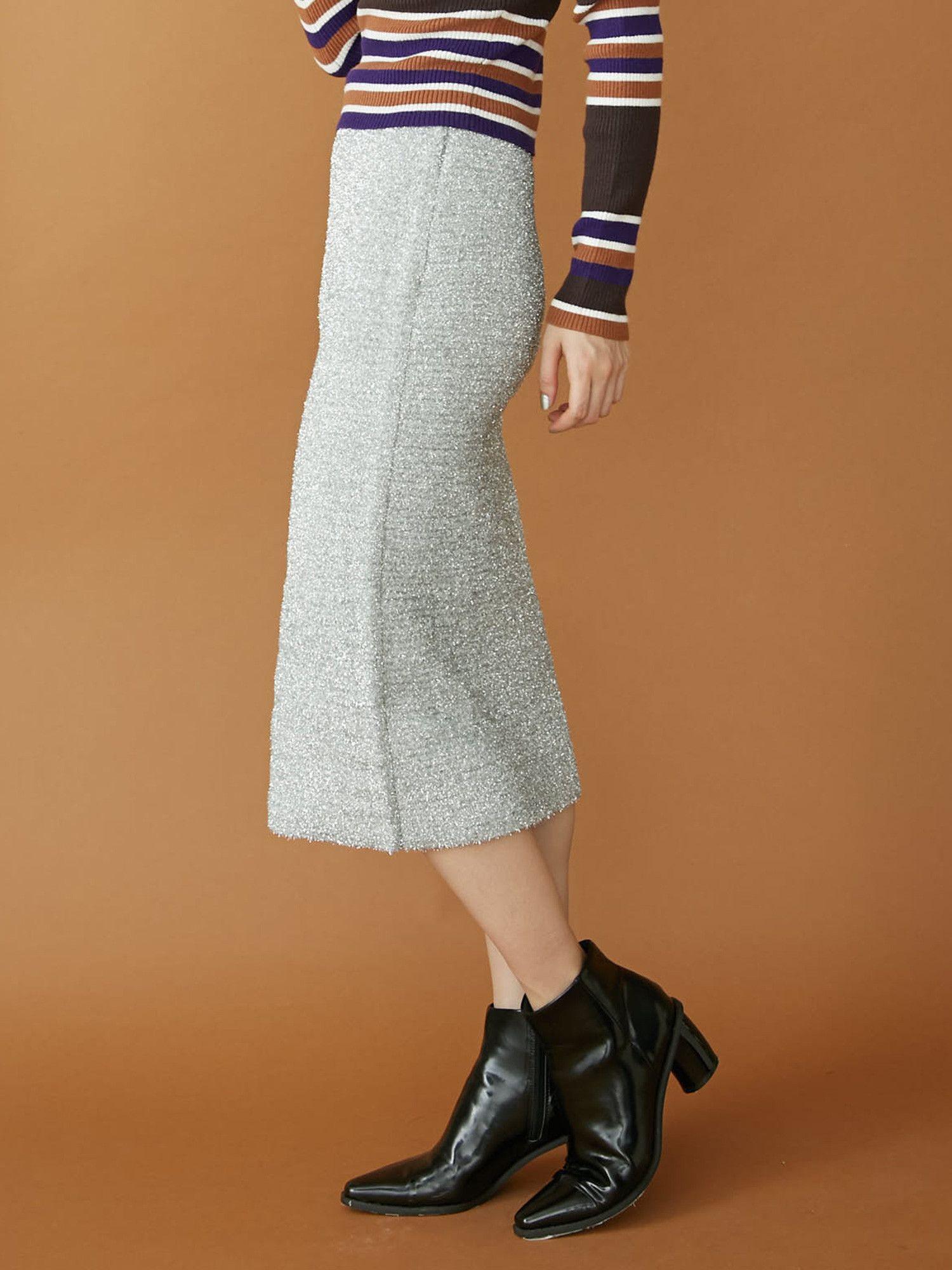 Lame knit skirt