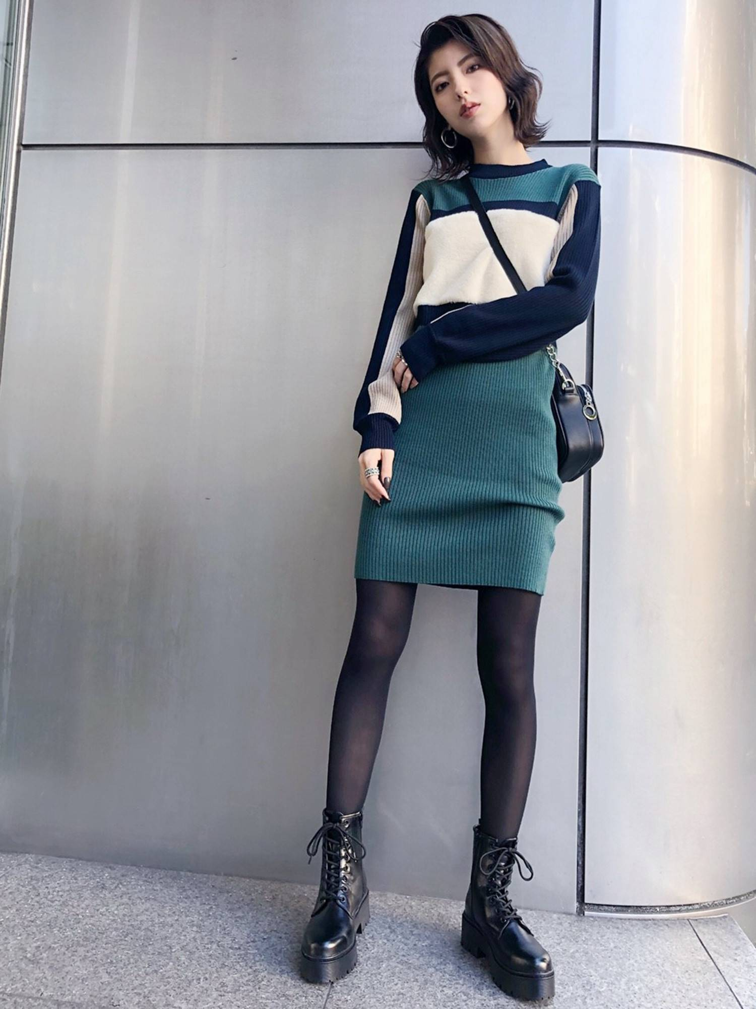 Shaggy combination knit dress