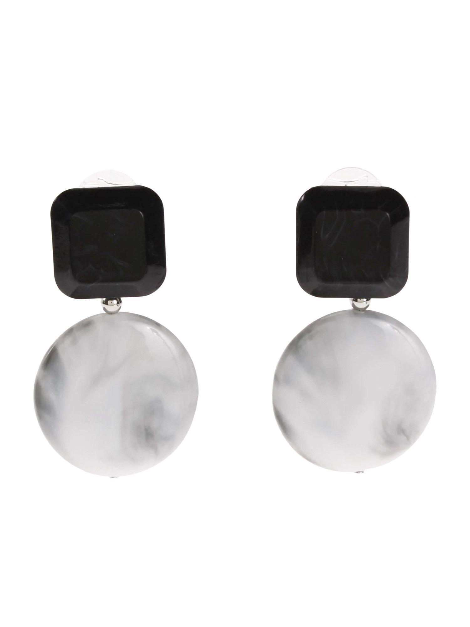 色塊大理石耳環
