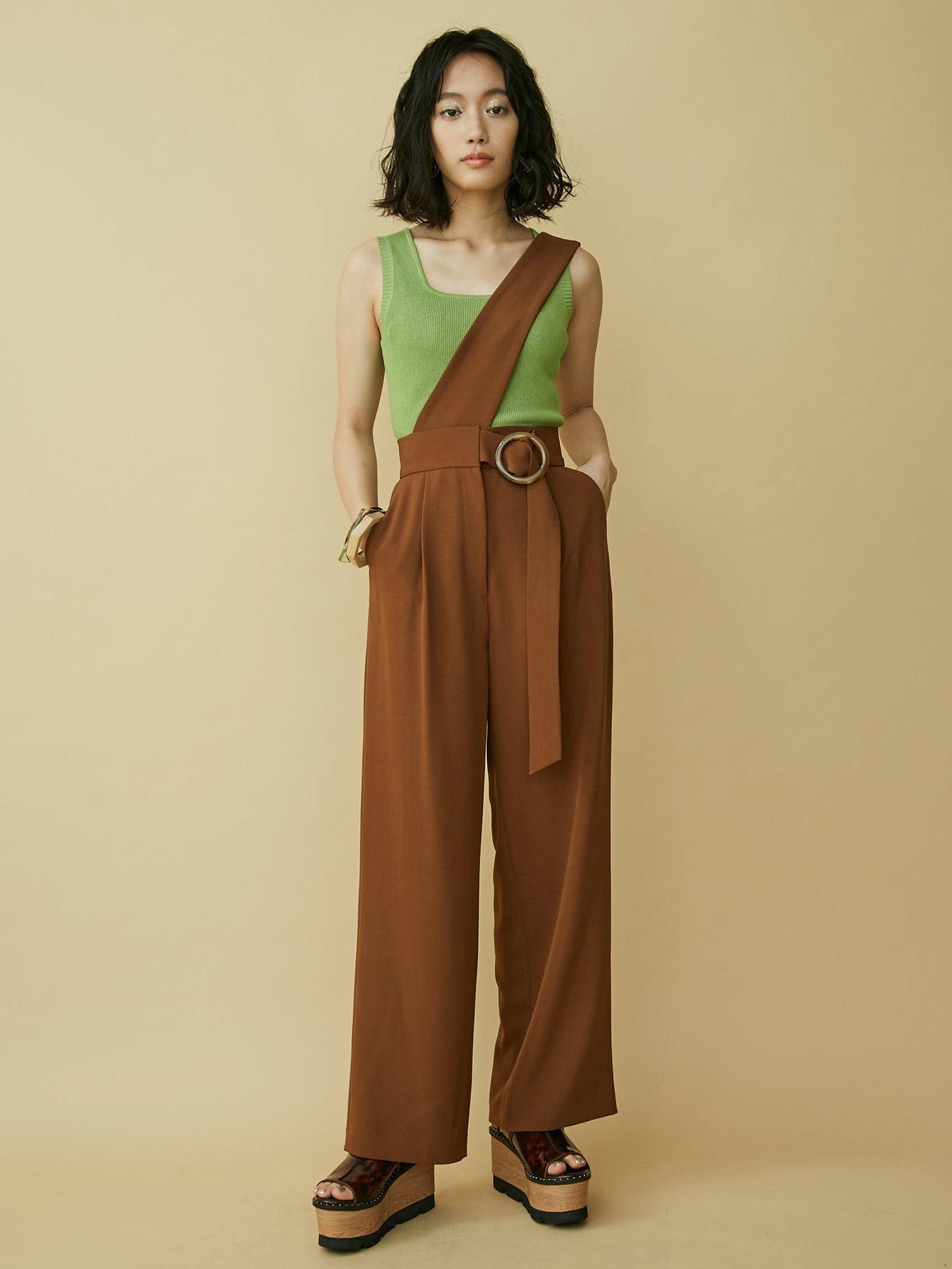 One shoulder suspender pants