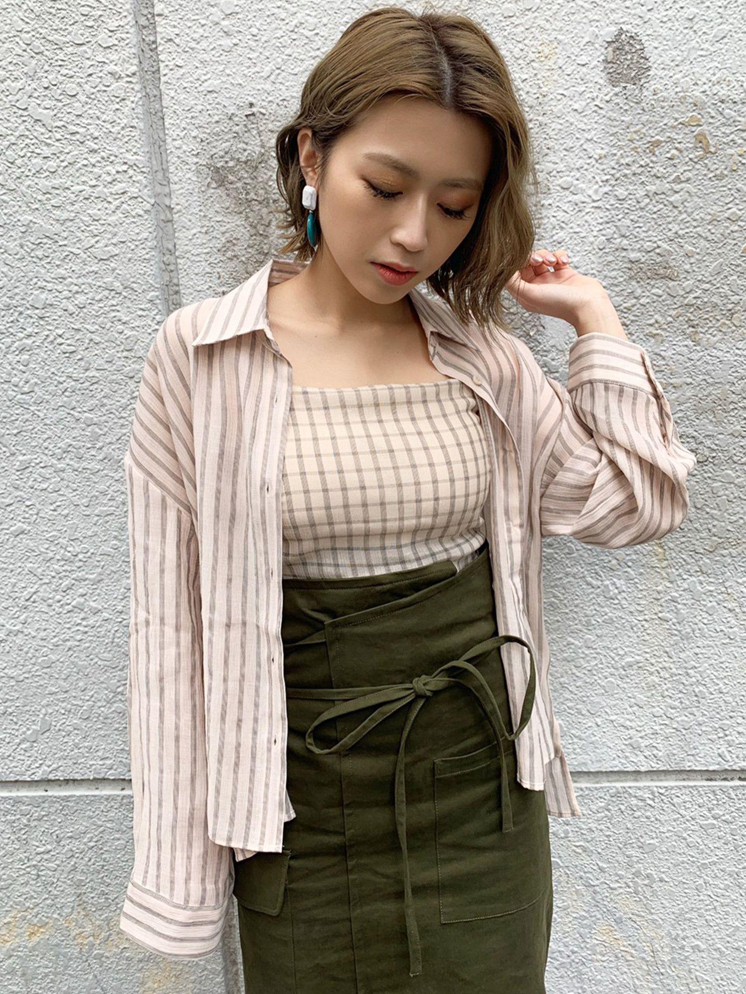 See-through shirt × cami set