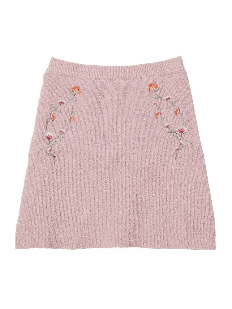 [Sw] pink embroidery knit skirt