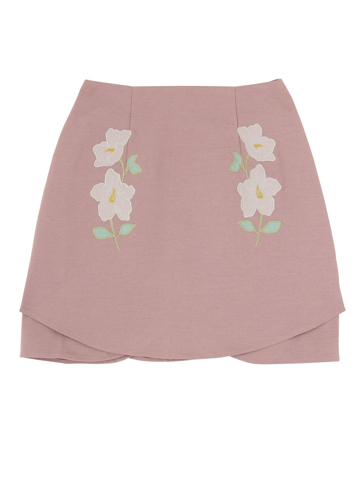 [Sw] side embroidery mini skirt