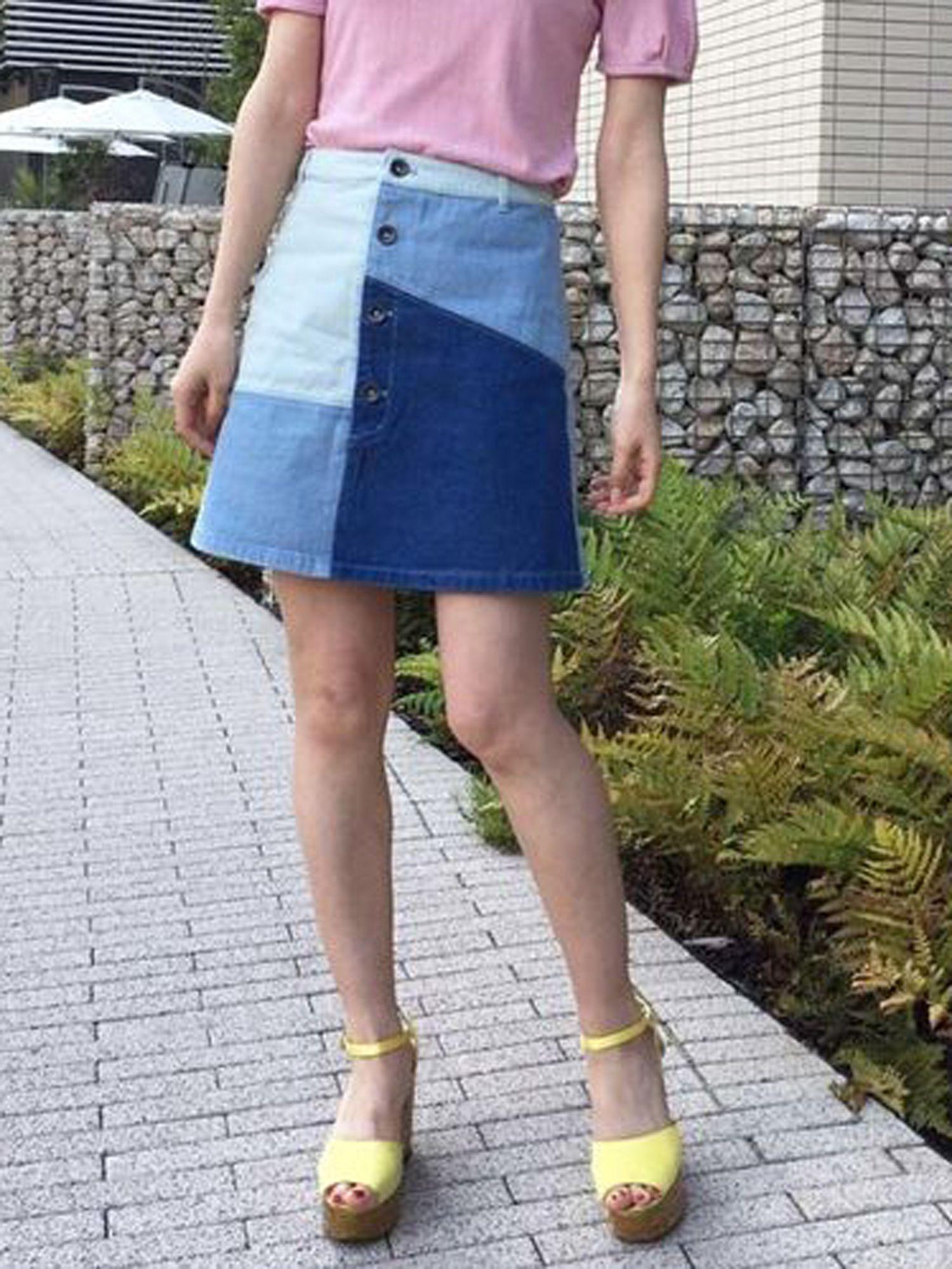 [Sc] patchwork denim skirt