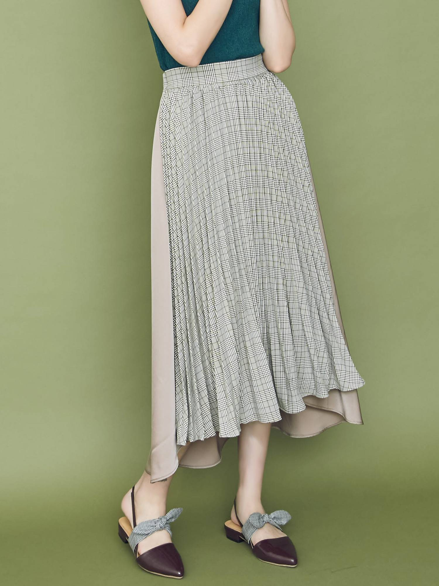 [Sw] check pleated flared skirt