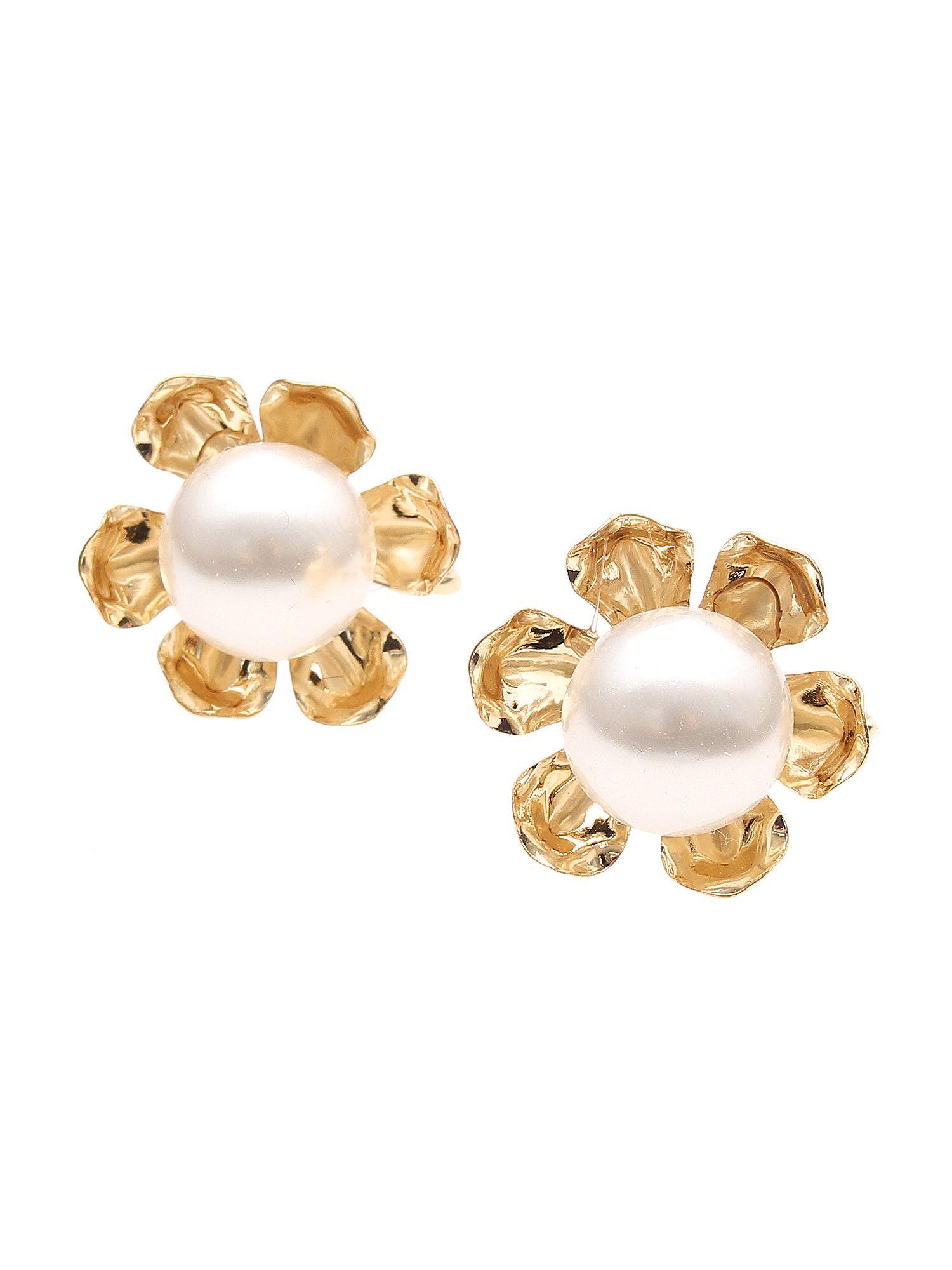 [商品]花珍珠耳環