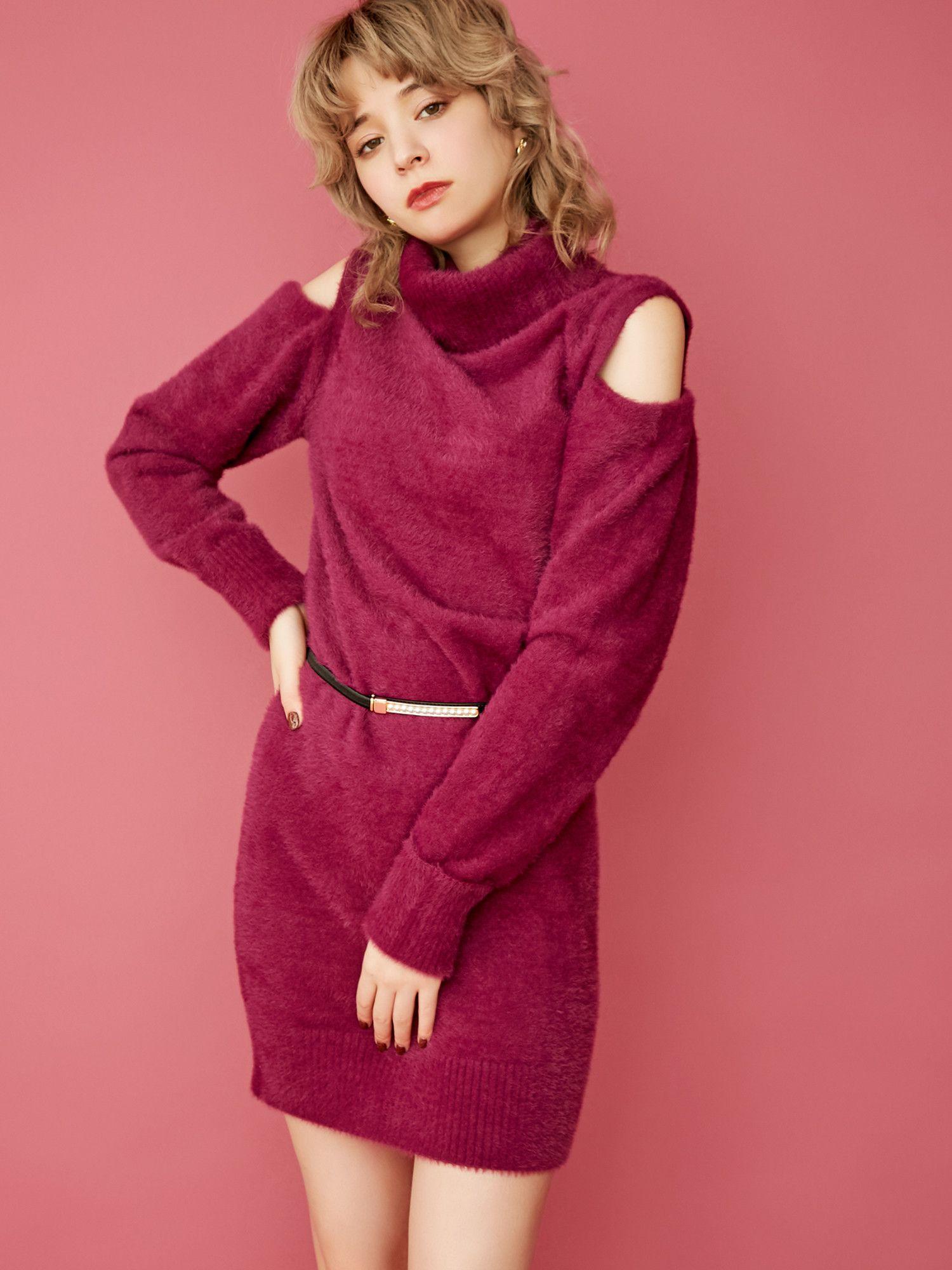 [SW]肩开放针织连衣裙