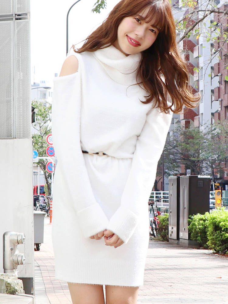 [SW]肩開放針織連衣裙
