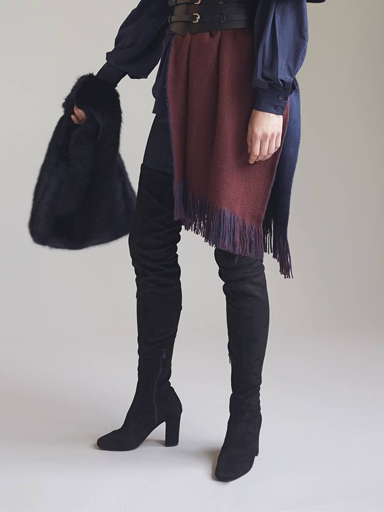 Fake suede thigh boots