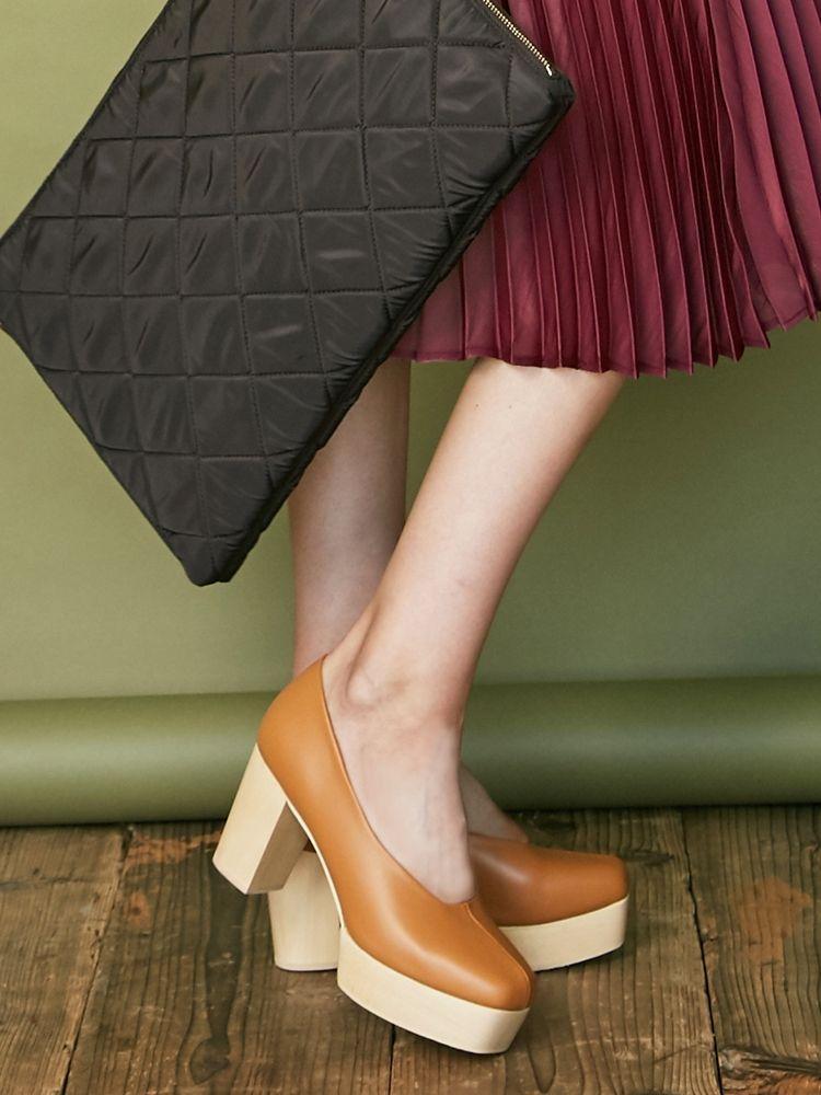 木紋鞋跟廣場 - 泵