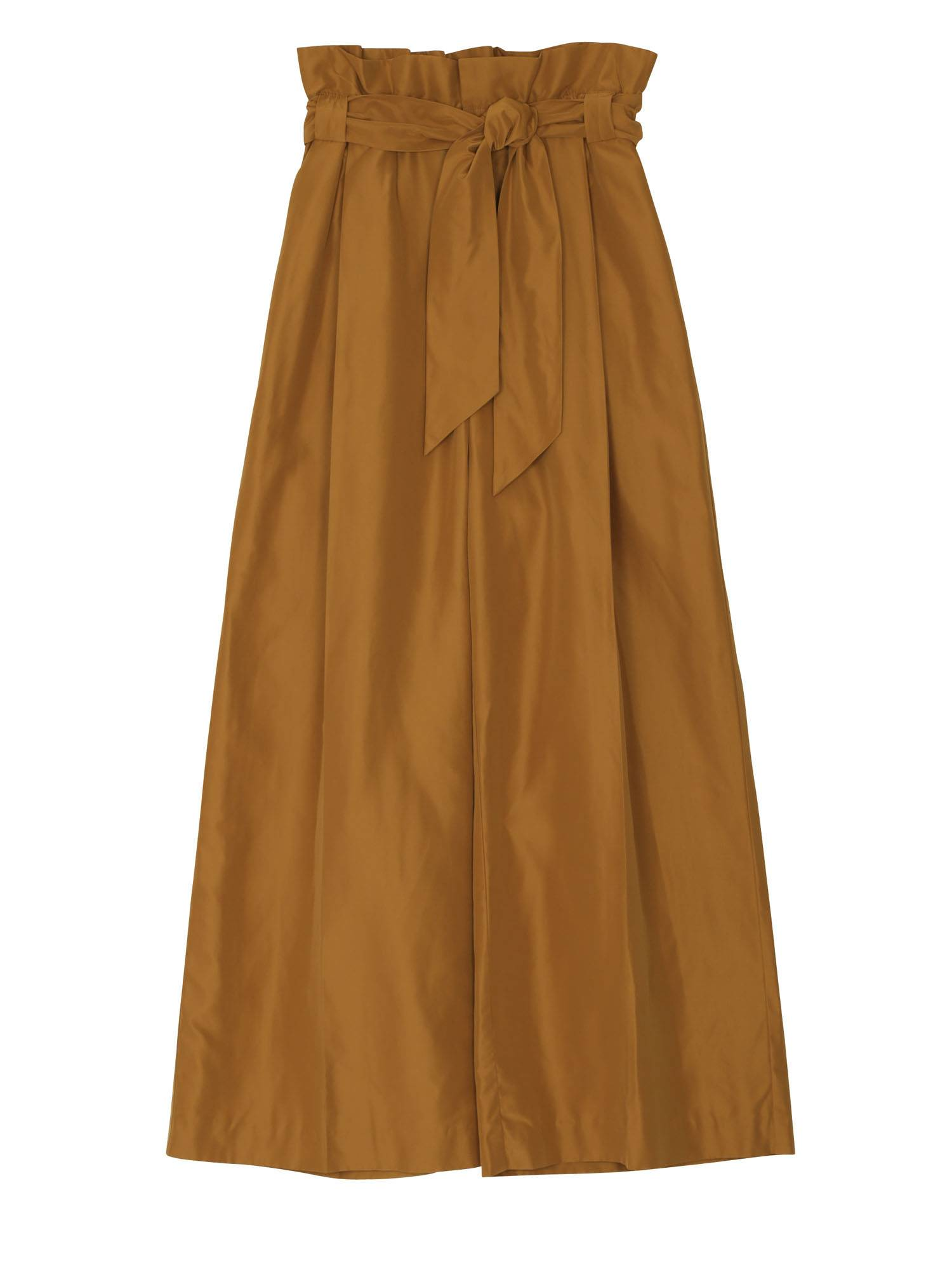 Ribbon belt Taffeta gather wide pants