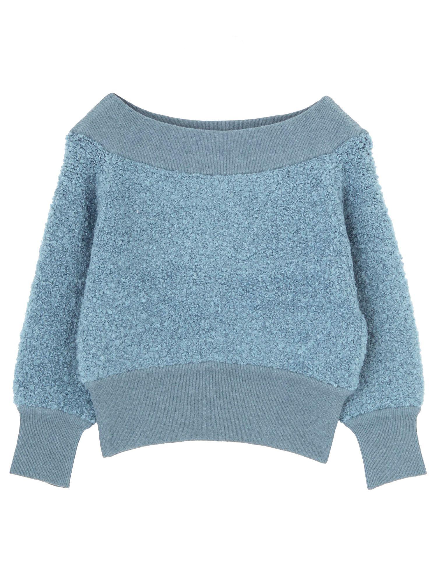 Loop yarns off shoulder knit pullover