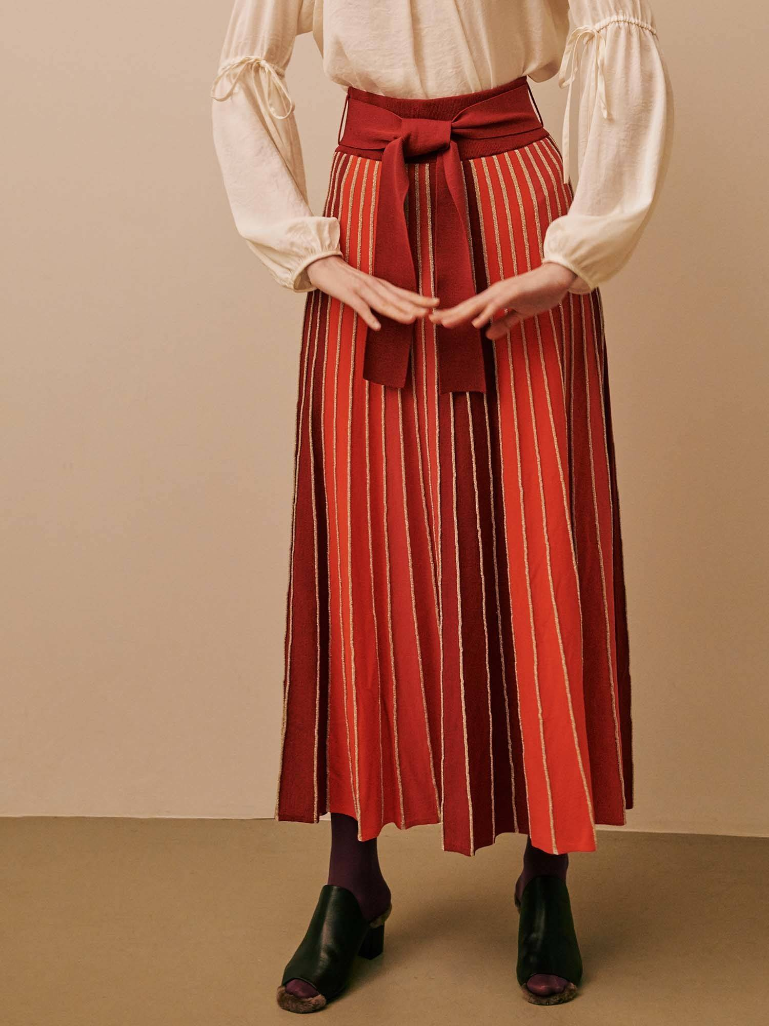 Panel color knit maxi skirt