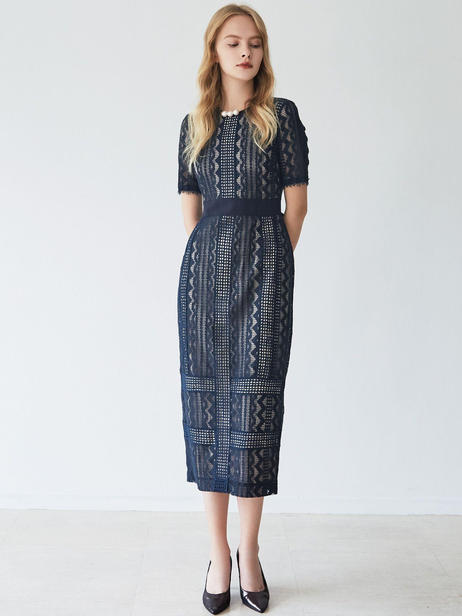 LADY geometric lace dress