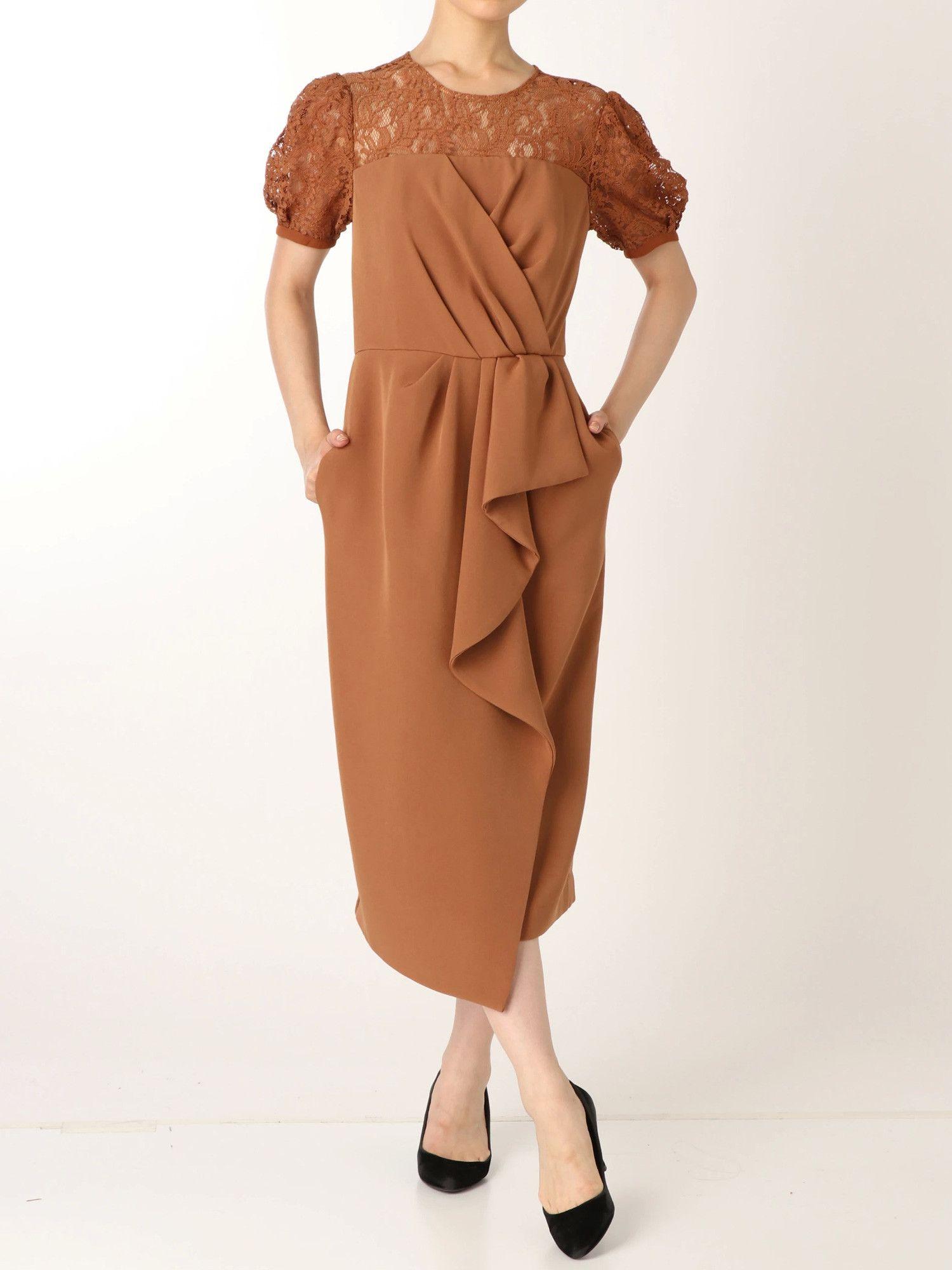 LADY领口花边皱褶连衣裙