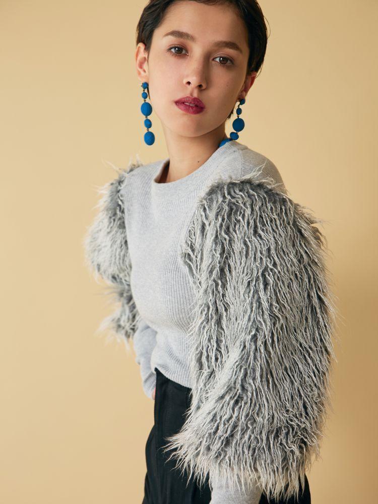 Fake fur docking knit