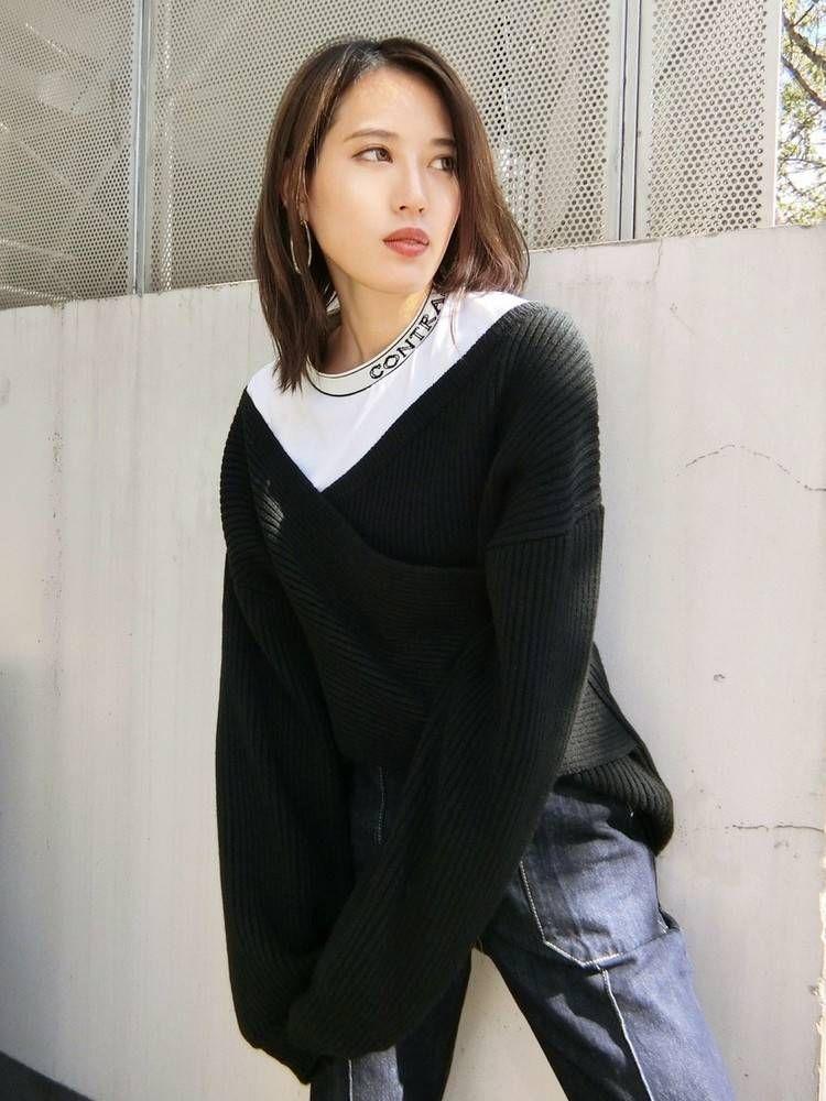 Cross Long knit tops