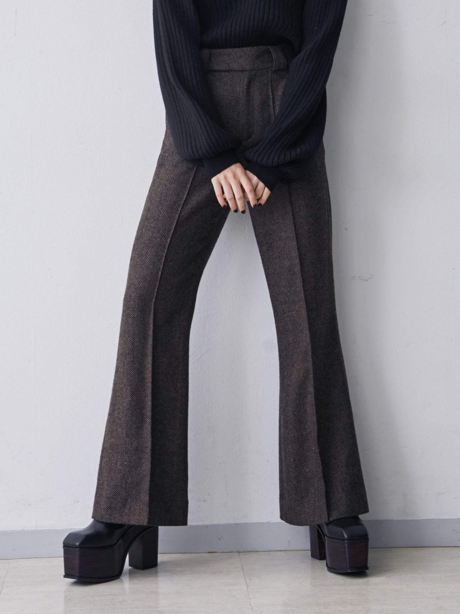 Wide belt jacquard pants