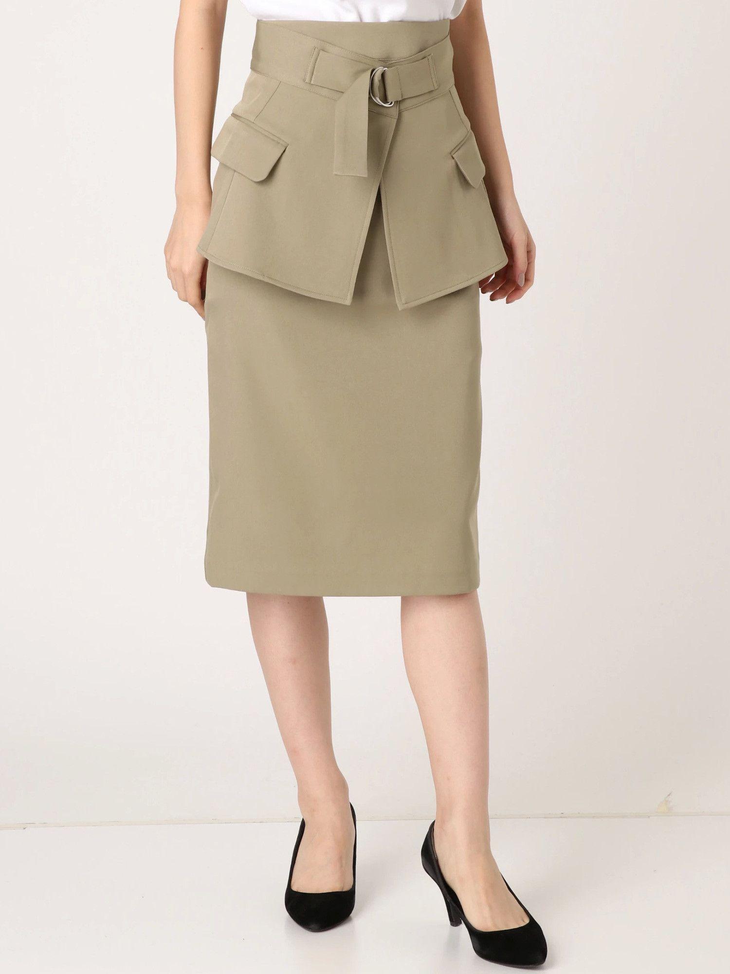 Belt mark midi skirt