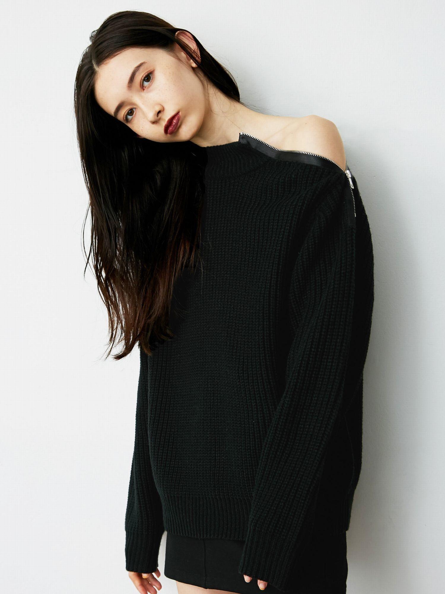 Zip line knit top