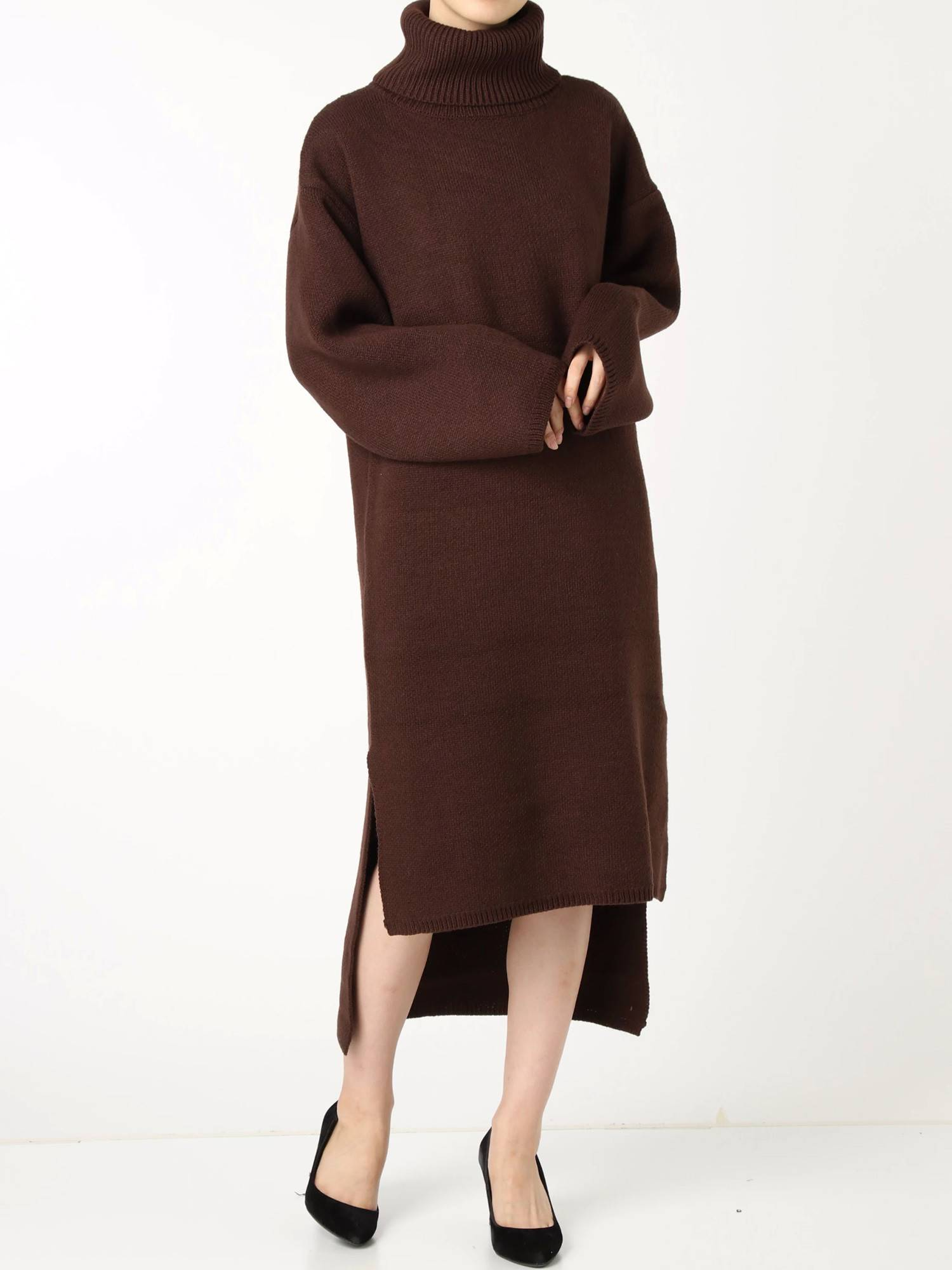Wide Neck Long knit dress