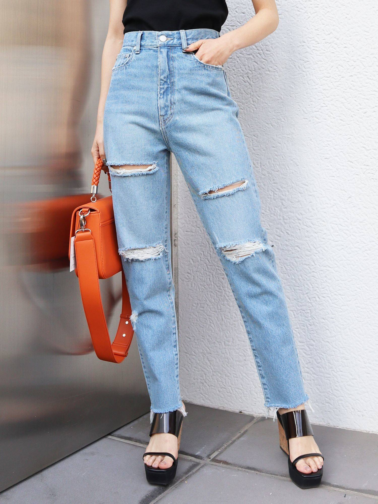 Point crash Cropped just west jeans