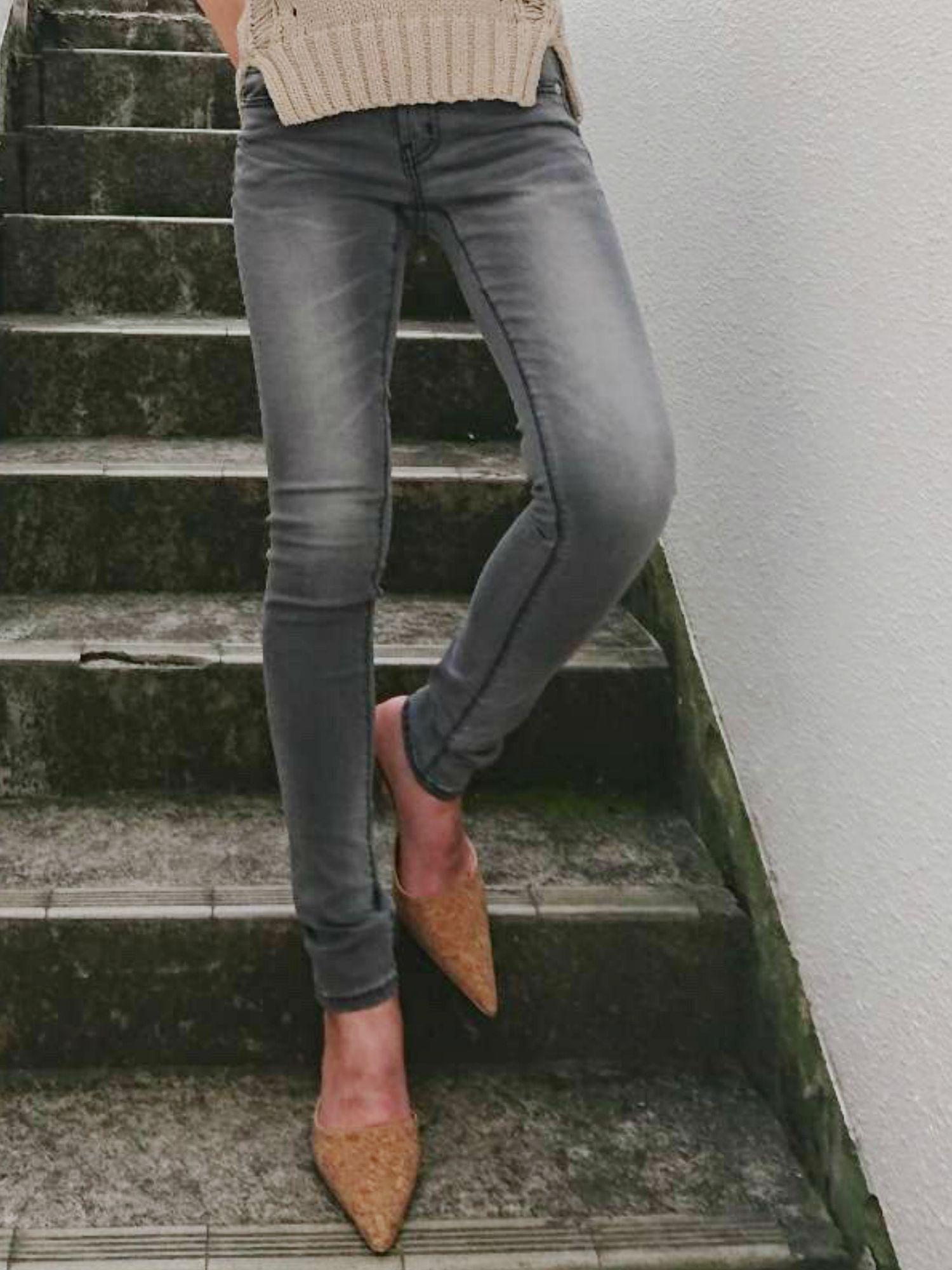 Stretch slim skinny denim pants