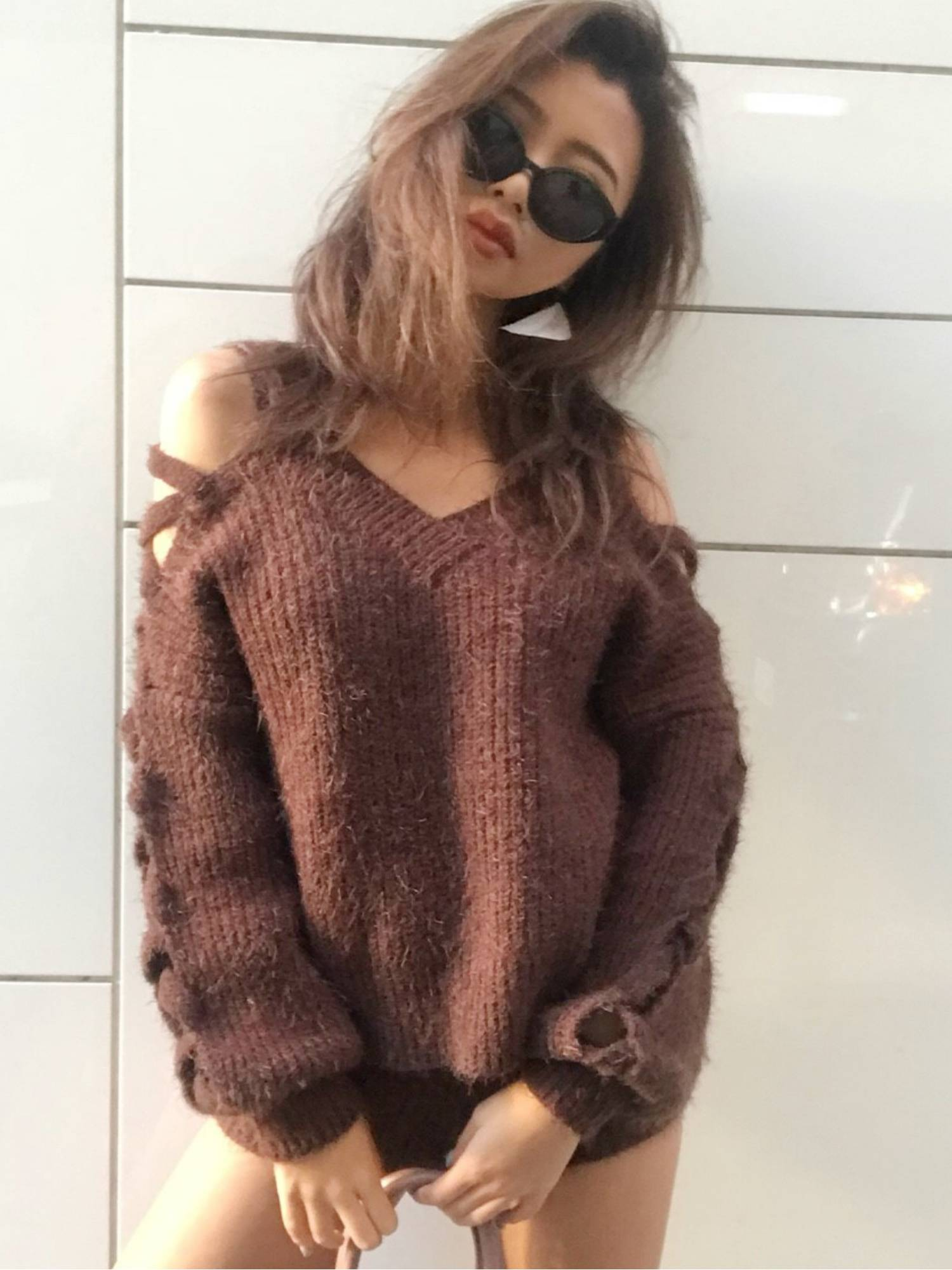Lace-up Shaggy knit TOPS