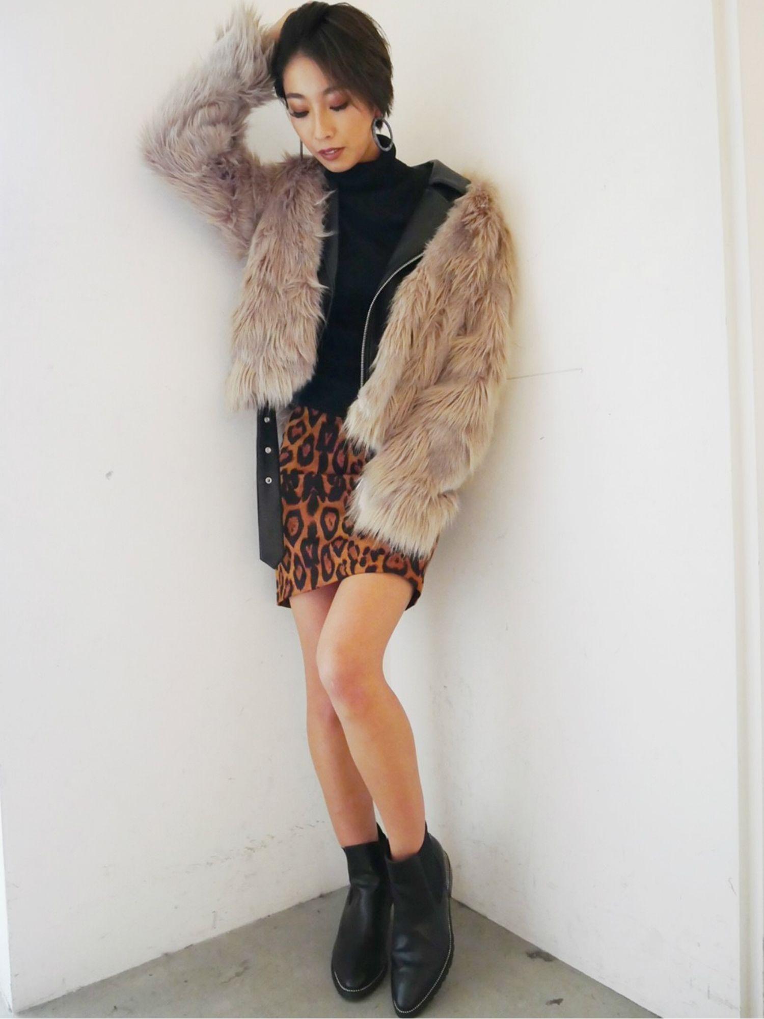 豹紋緊身裙