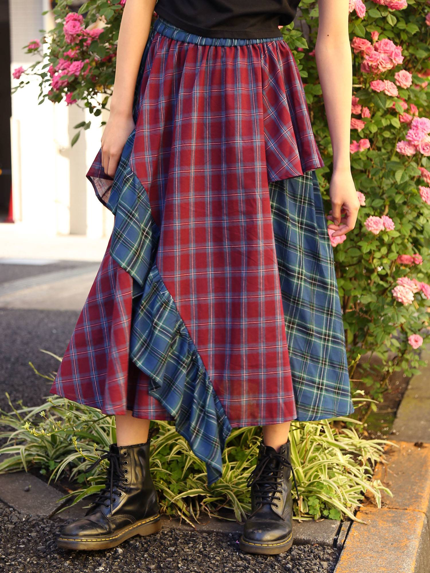 Multi-check ruffle skirt