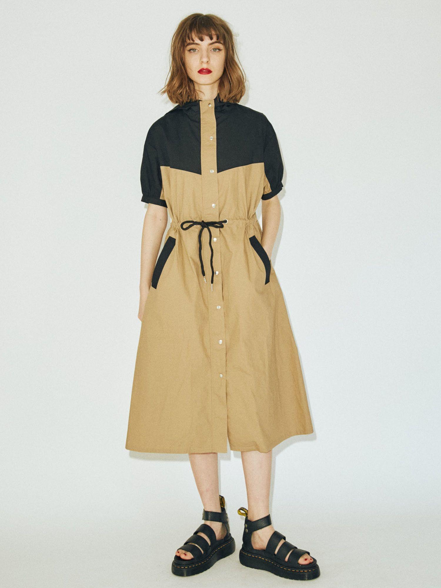 通過色半袖連衣裙