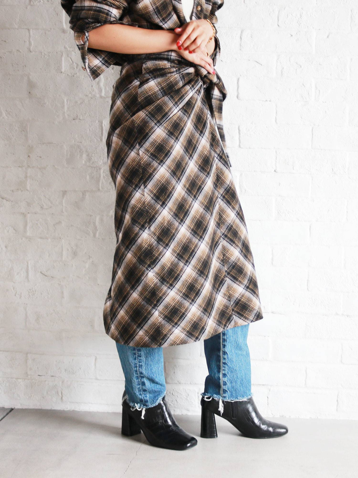 Wool blends West ribbon check skirt