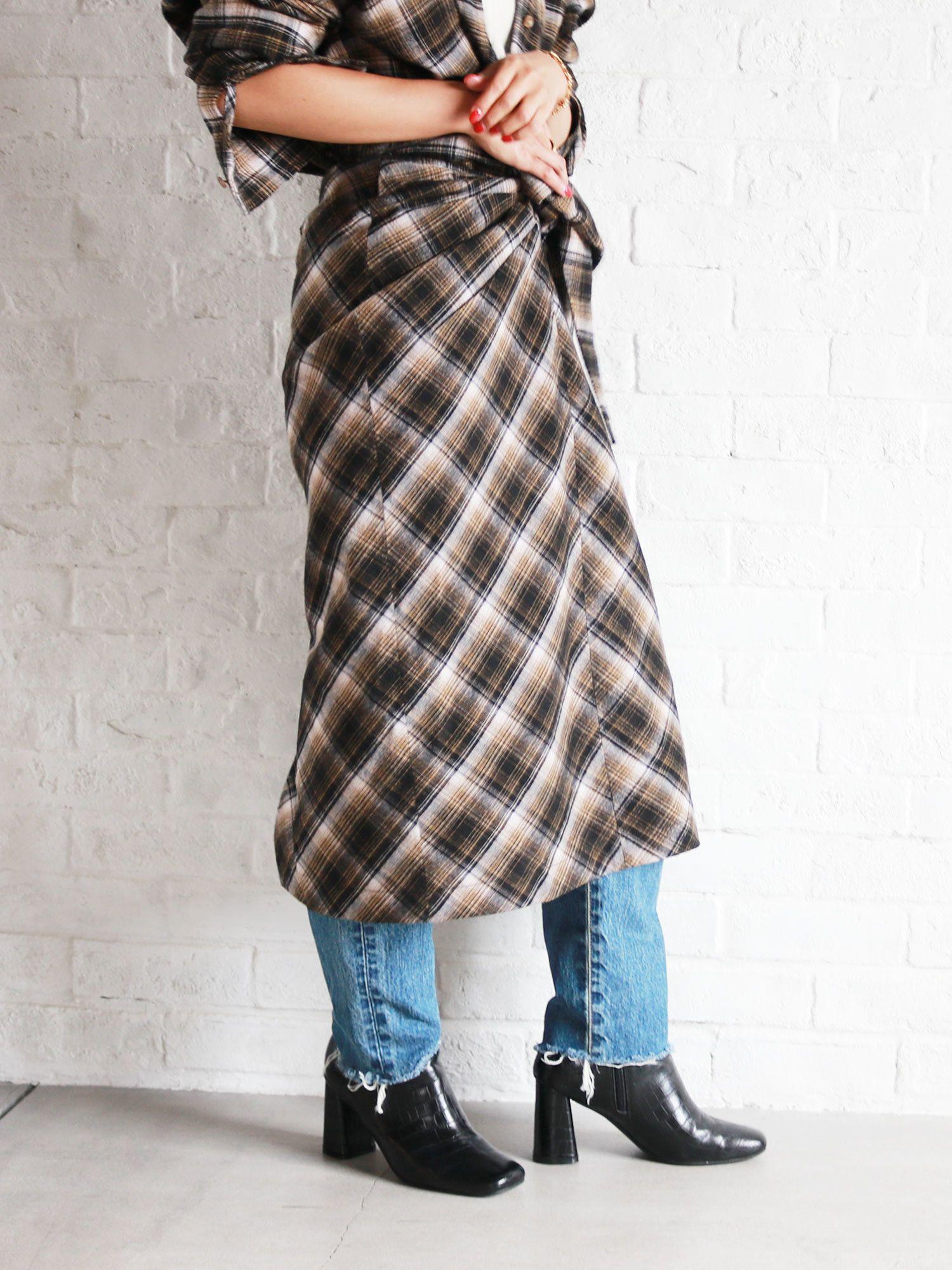 羊毛混紡西絲帶檢查裙子