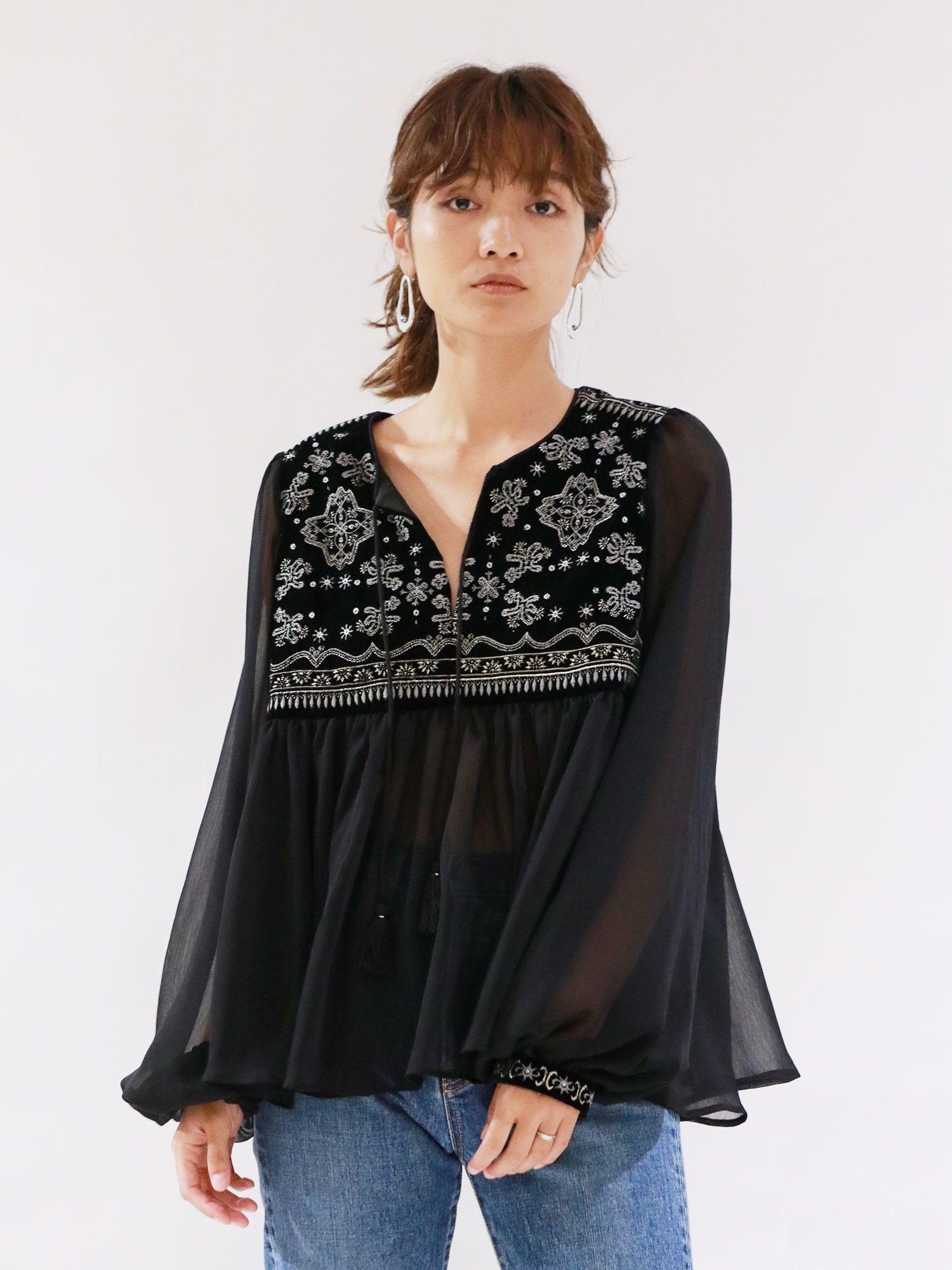 絲絨刺繡罩衫