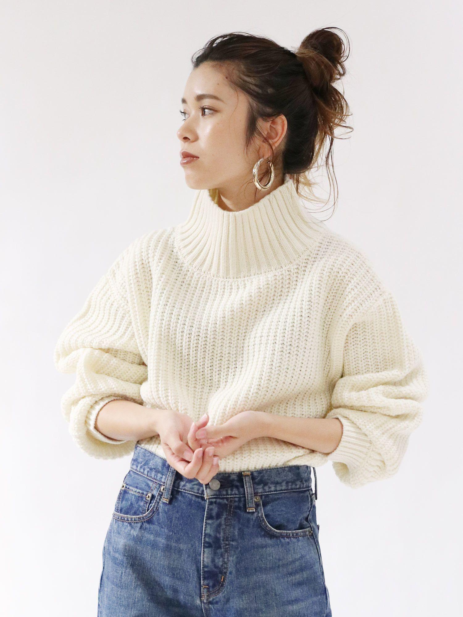 High-necked knit Azeami