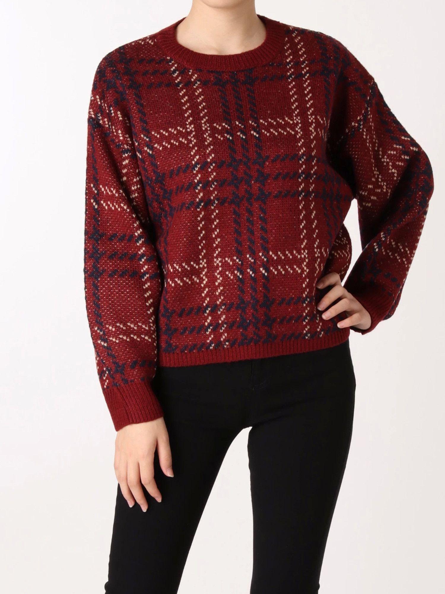 [MURUA] check jacquard knit pull-over