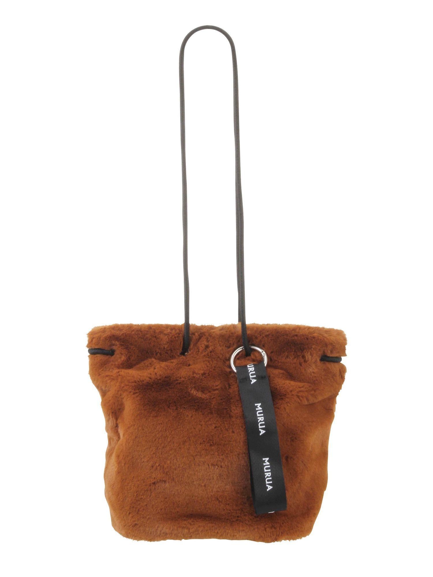 [MURUA] fake fur drawstring bag