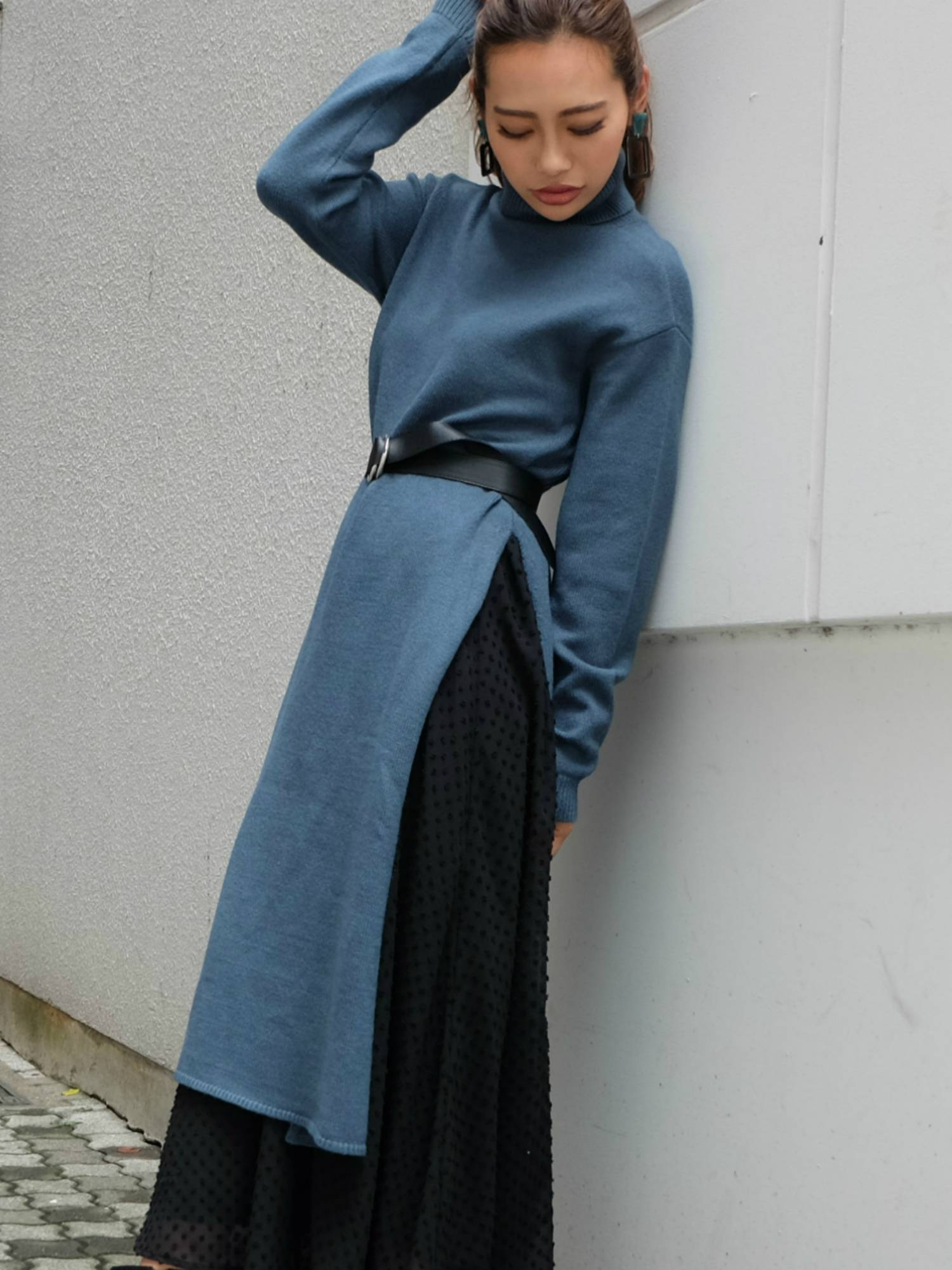 [WEB limited slit knit long dress