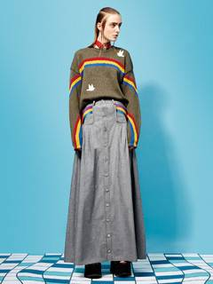 PAMEO POSE(パメオポーズ) |RAINBOW EMBROIDERED LONG SKIRT 画像01